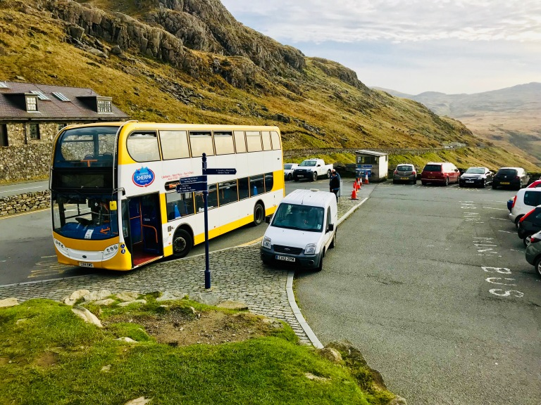 Bus stop at Pen Y Pass