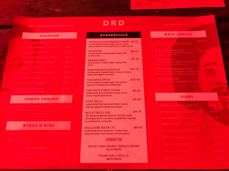 Menu at the DRD in Liverpool